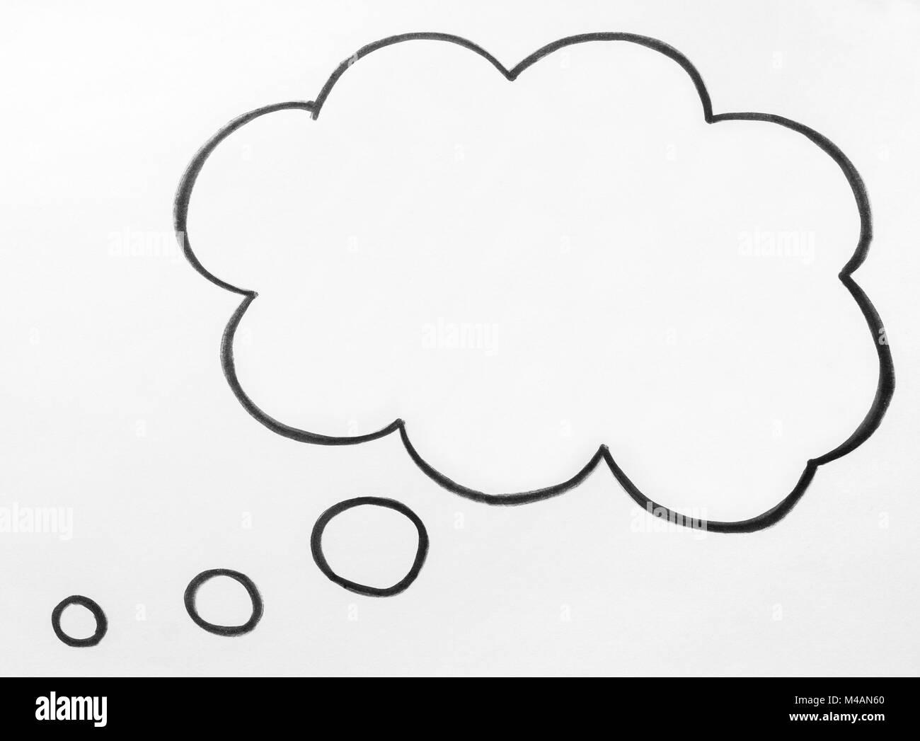 Il pensiero di cloud e pensare discorso bolla balloon disegnati a mano su carta. Immagini Stock