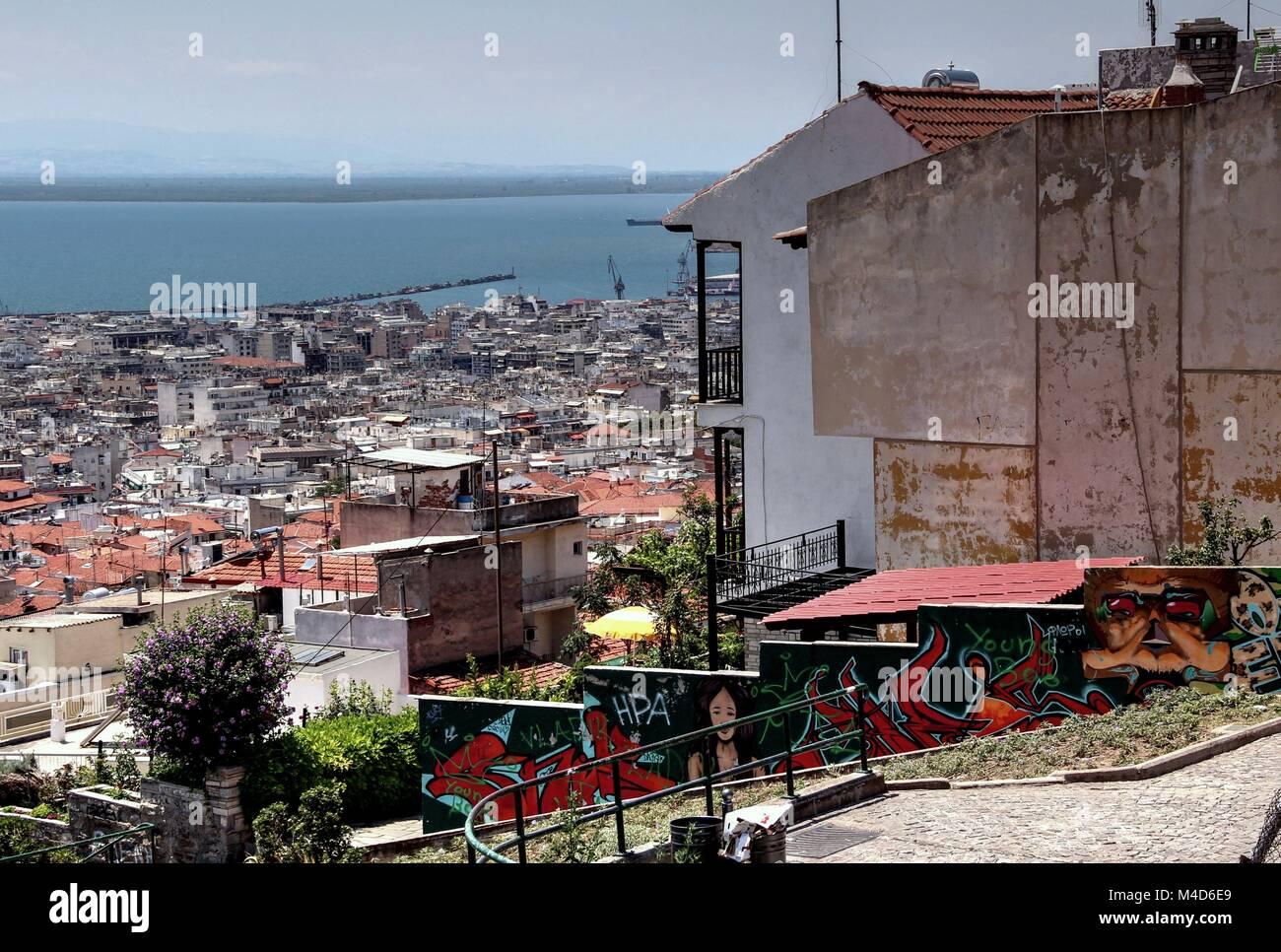 Ritratto greco della vita quotidiana a Salonicco Immagini Stock