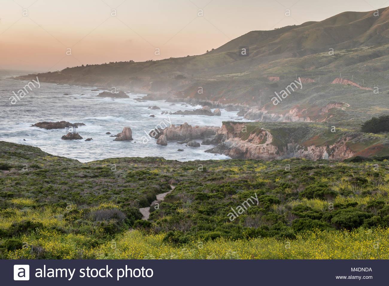 Costa frastagliata Tramonto di Carmel-By-The-Sea. Immagini Stock