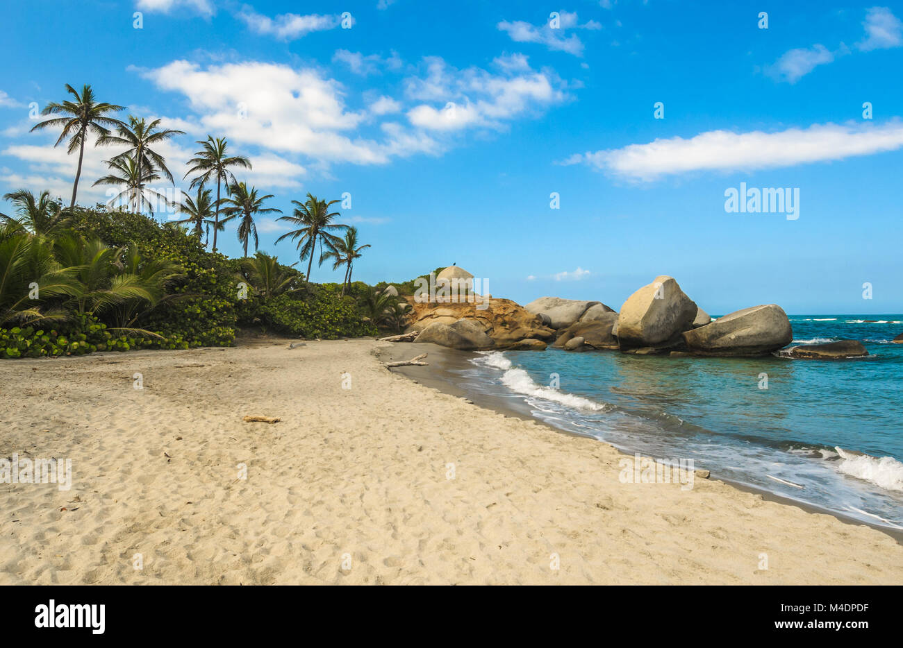 Arrecifes Beach, il Parco nazionale Tayrona, Colombia Immagini Stock