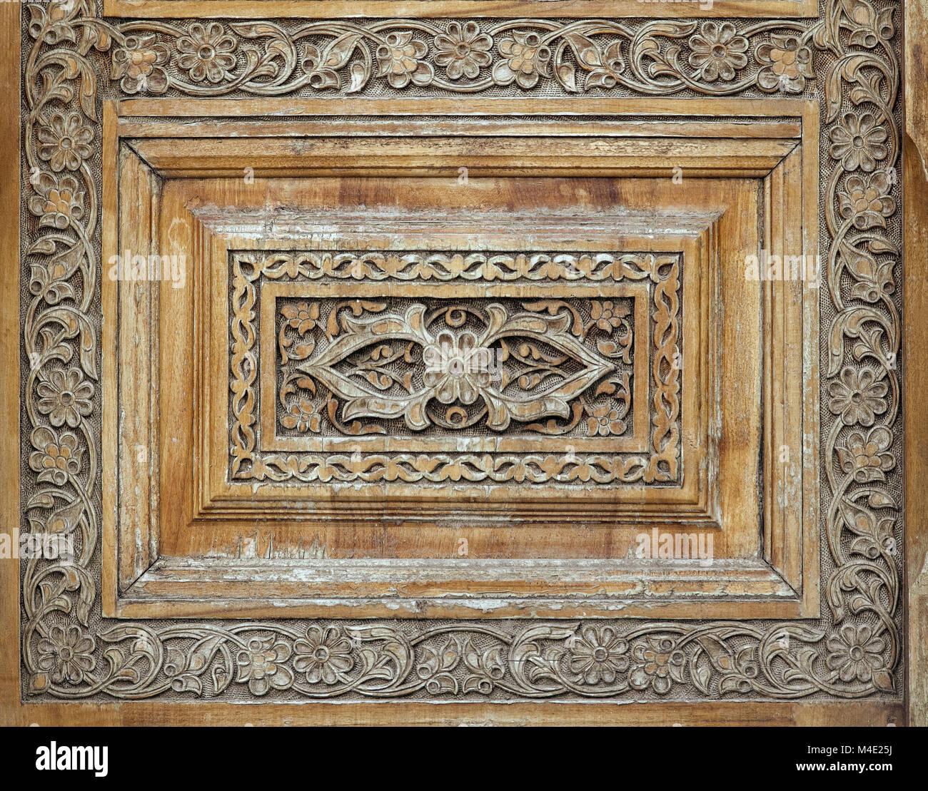 Legno tradizionale carving, Uzbekistan Immagini Stock