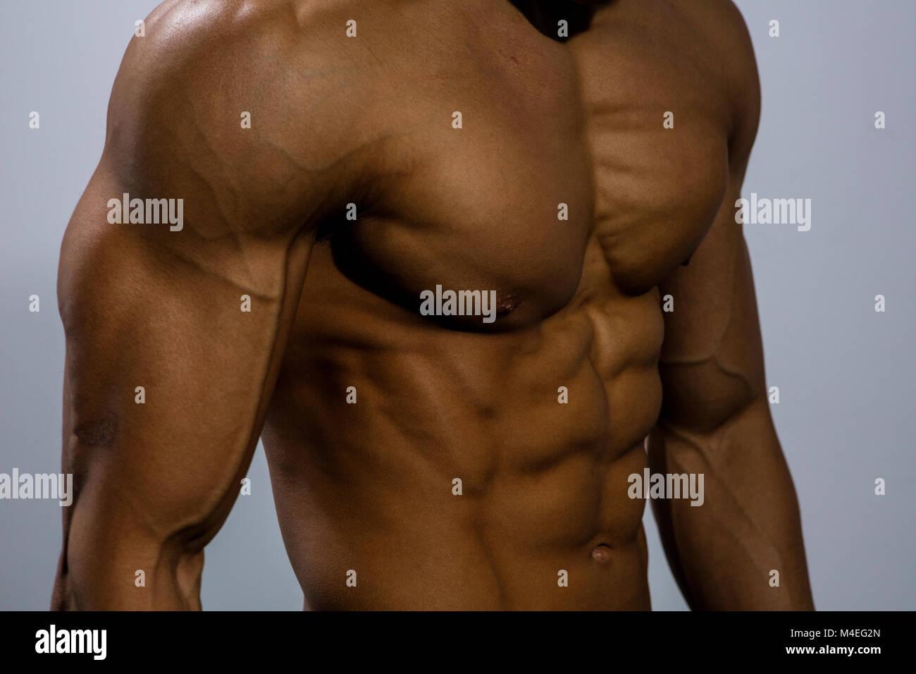 Un modello di fitness torso con i muscoli del torace strettamente flesse. Close up. Immagini Stock