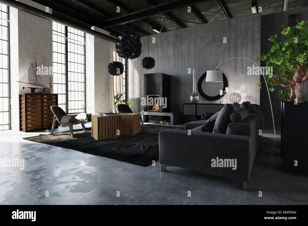 Il lusso moderno loft industriale la conversione con confortevoli