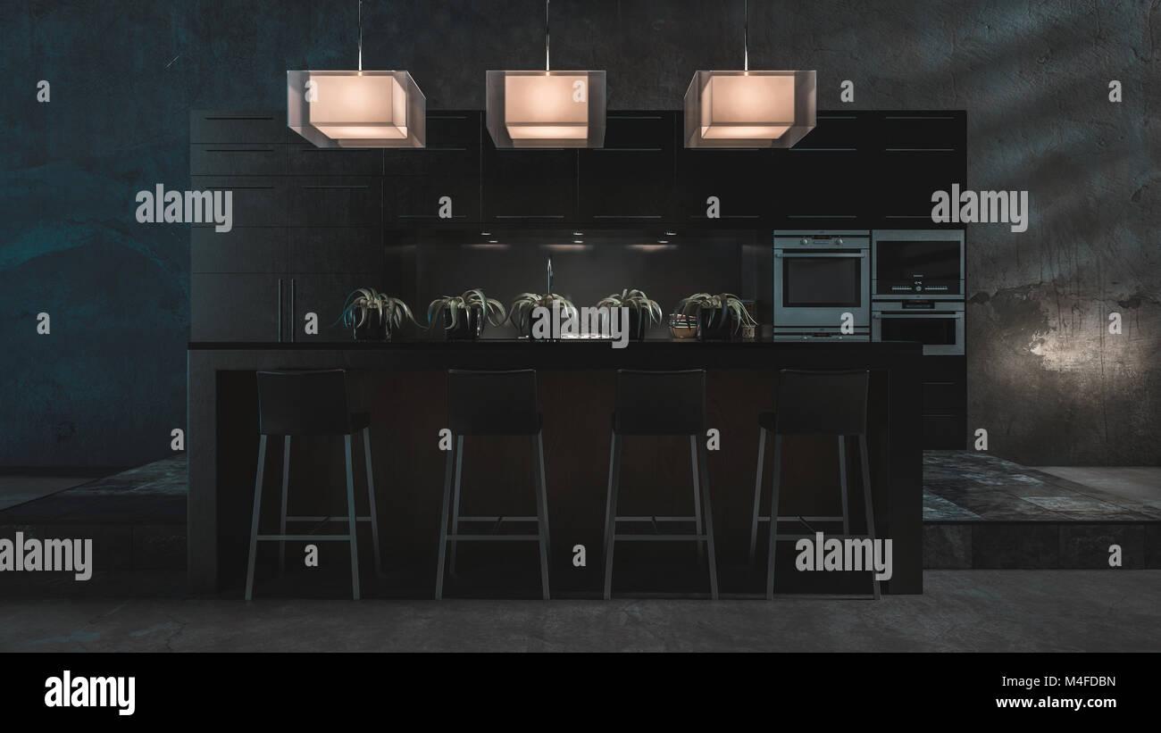 Grigio scuro luxury cucina attrezzata e bancone bar con sgabelli