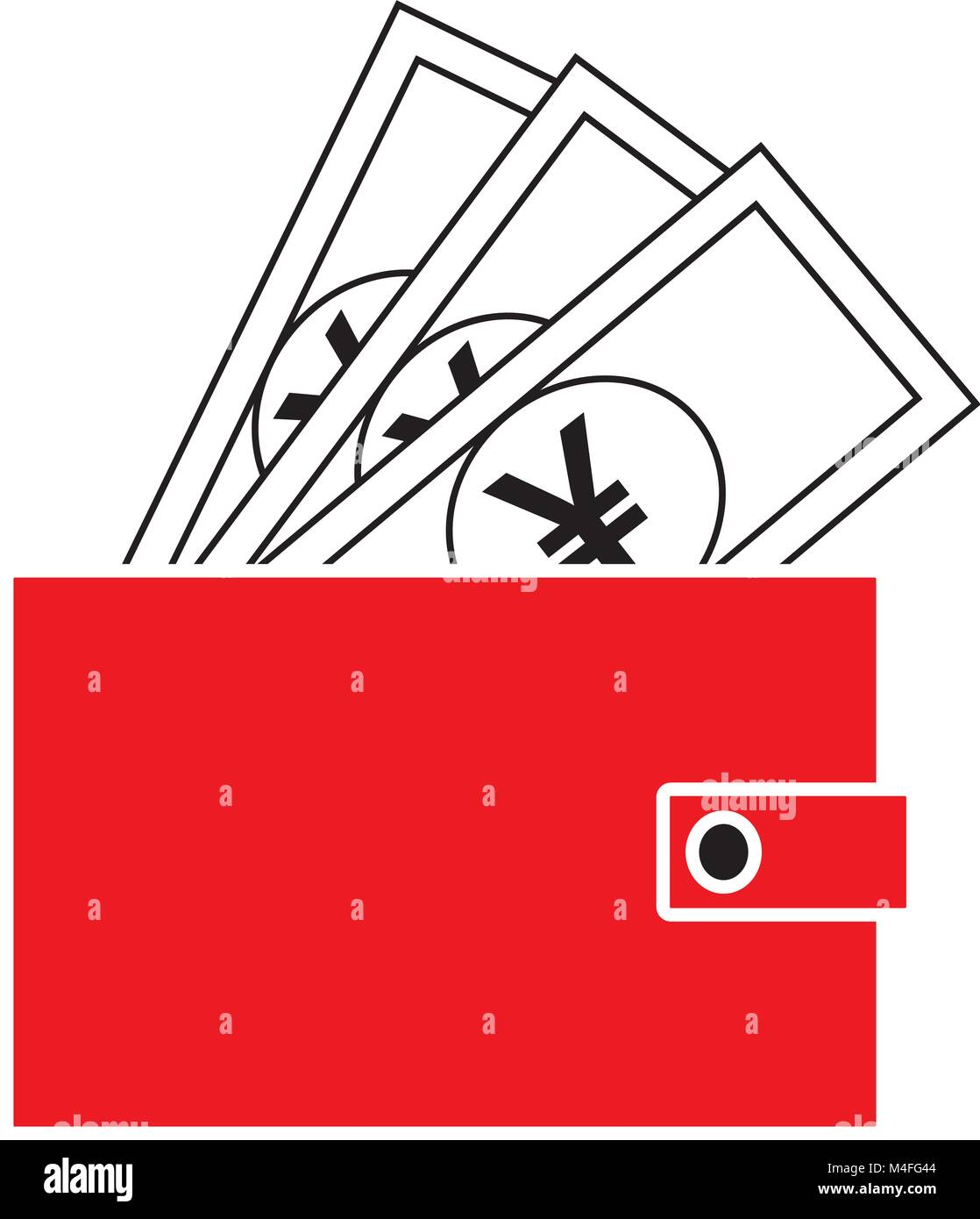 Yen, Yuan Renminbi o icona valuta o vettore logo sulle note fuoruscita di un portafoglio. Simbolo per il giapponese Immagini Stock