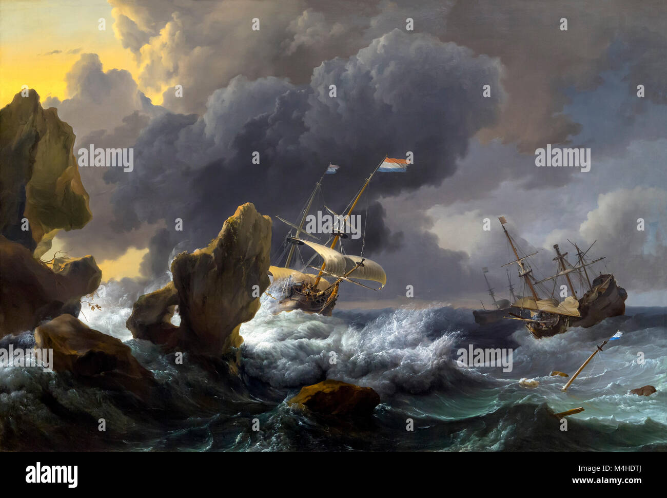 Le navi in pericolo off una costa rocciosa, Ludolf Bakhuizen, 1667, National Gallery of Art di Washington DC, USA, Immagini Stock