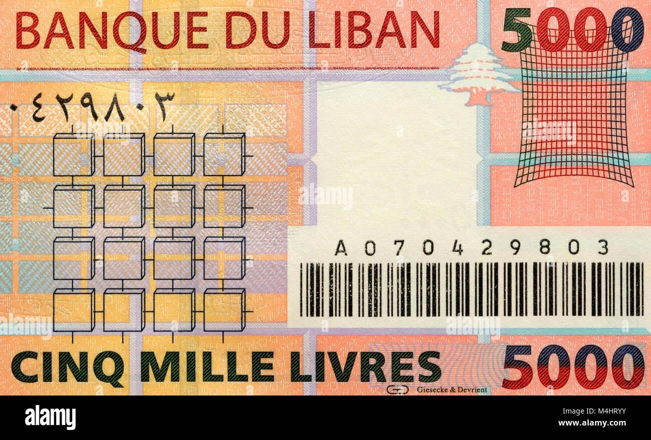 Il Libano cinque mila 5000 Pound Bank nota Immagini Stock