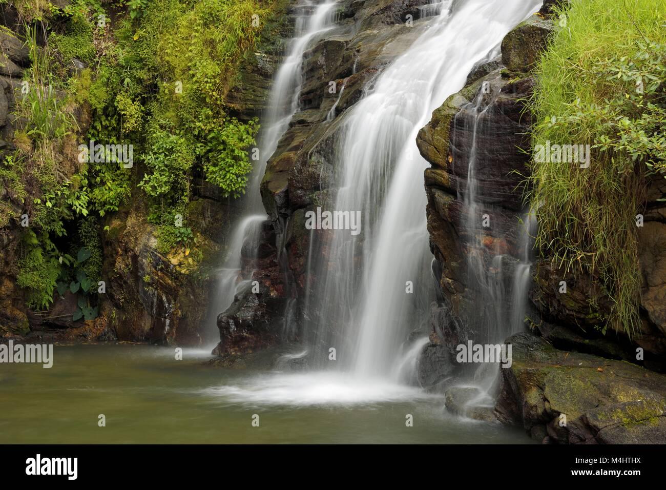 Ravana Falls, provincia centrale, Sri Lanka Immagini Stock