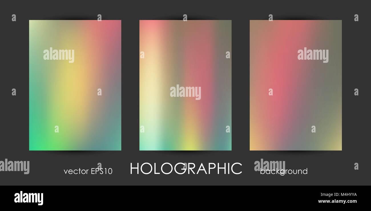 Set Di Moda Sfondi Olografico Per Coprire Flyer Brochure Poster