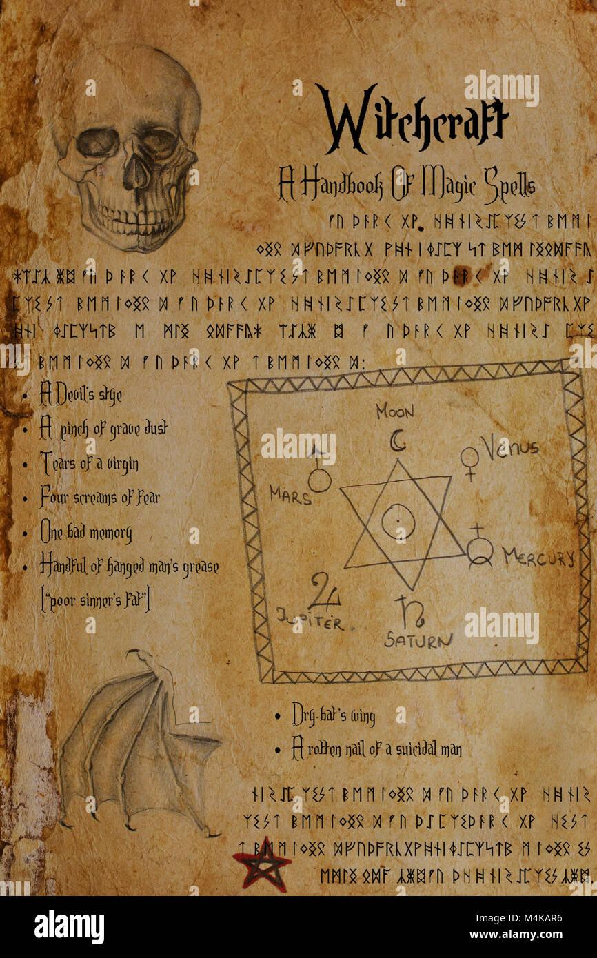 Dalla pagina della strega grimoire. Disegni di cranio umano, bat è ala, il sigillo di Salomone, segni planetari, Pentagram. Elder Futhark e rune anglosassoni. Foto Stock