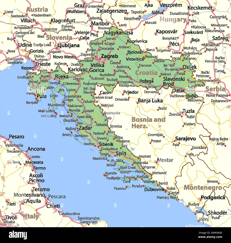 Croazia E Slovenia Cartina Geografica.Mappa Di Croazia Mostra I Confini Zone Urbane Nomi Di Localita E Strade Le Etichette In Inglese Dove Possibile Proiezione Proiezione Di Mercatore Immagine E Vettoriale Alamy