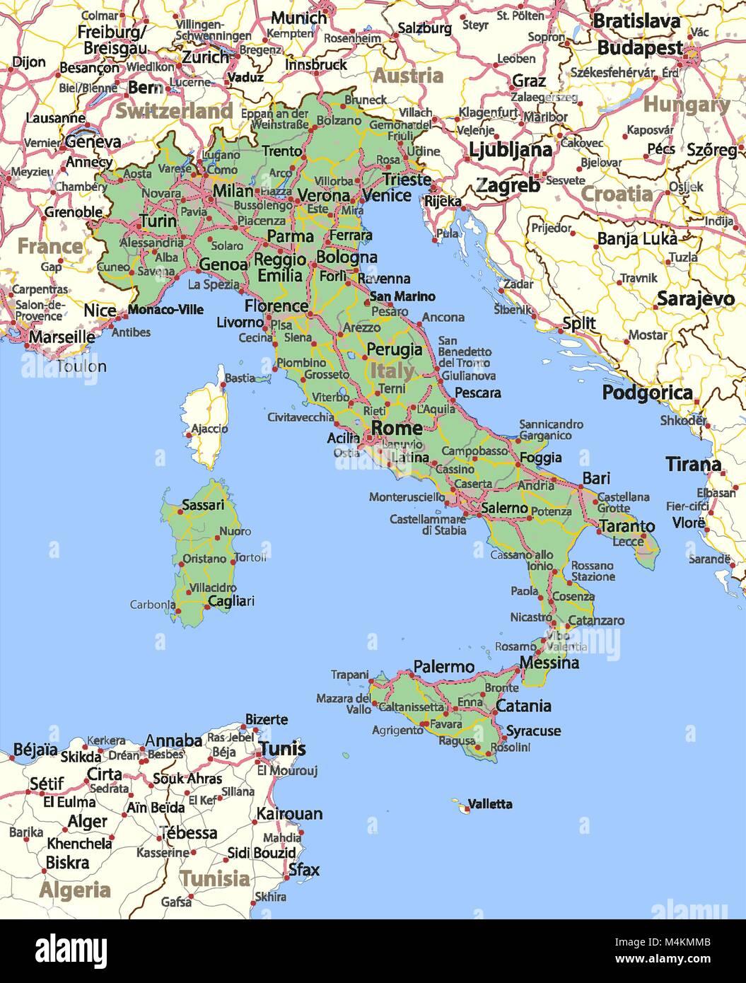 Cartina Dell Italia E I Suoi Confini.Mappa Dell Italia Mostra I Confini Zone Urbane Nomi Di Localita E Strade Le Etichette In Inglese Dove Possibile Proiezione Proiezione Di Mercatore Immagine E Vettoriale Alamy