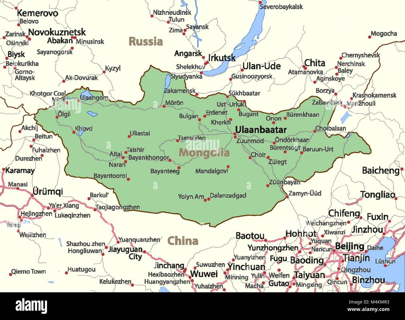 Cartina Geografica Della Mongolia.Mappa Della Mongolia Mostra I Confini Nomi Di Localita E Strade Le Etichette In Inglese Dove Possibile Proiezione Proiezione Di Mercatore Immagine E Vettoriale Alamy