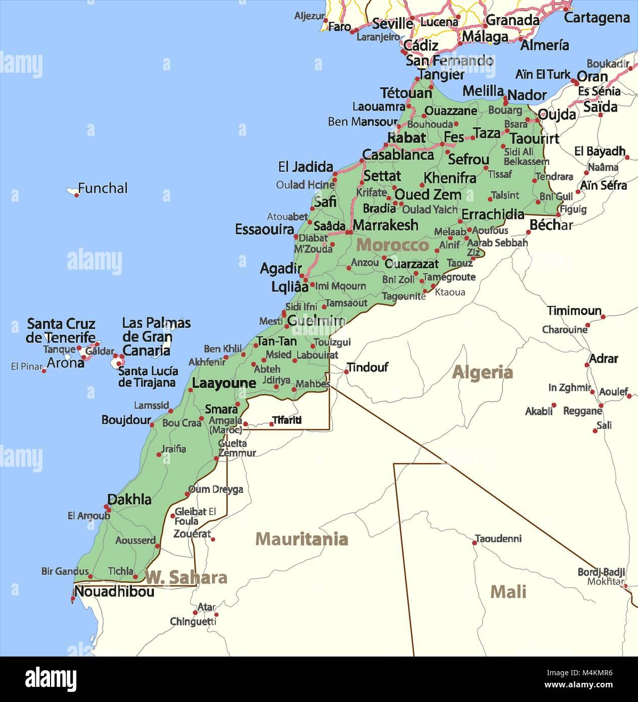 Cartina Geografica Marocco.Mappa Del Marocco Mostra I Confini Nomi Di Localita E Strade Le