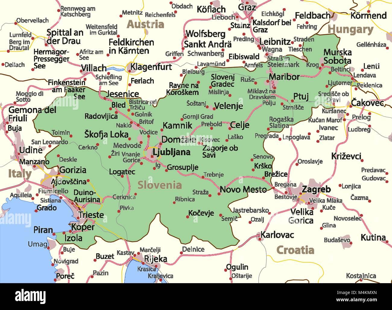 Cartina Stradale Della Slovenia.Mappa Della Slovenia Mostra I Confini Zone Urbane Nomi Di Localita E Strade Le Etichette In Inglese Dove Possibile Proiezione Proiezione Di Mercatore Immagine E Vettoriale Alamy