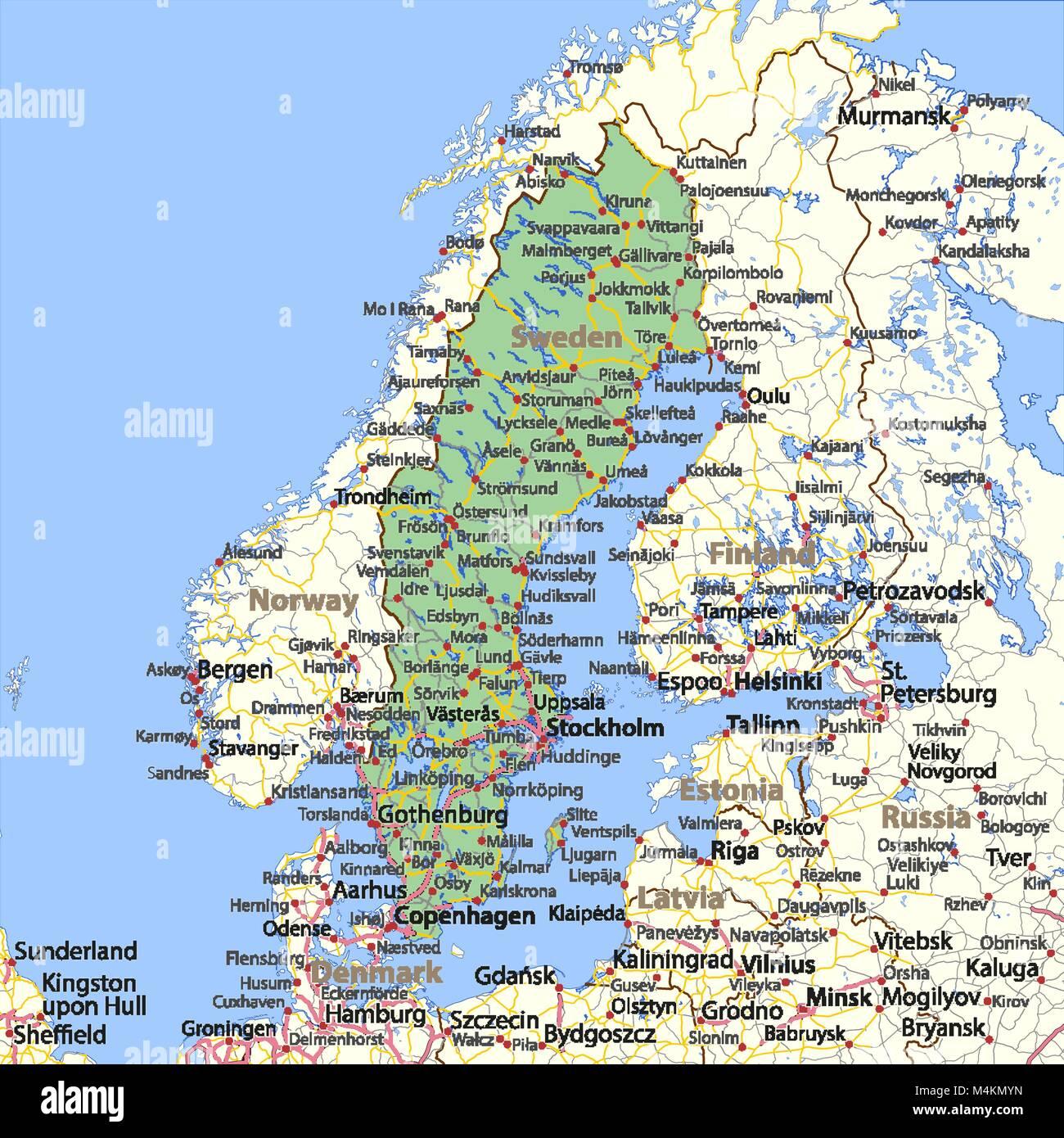Cartina Della Svezia.Mappa Della Svezia Mostra I Confini Zone Urbane Nomi Di