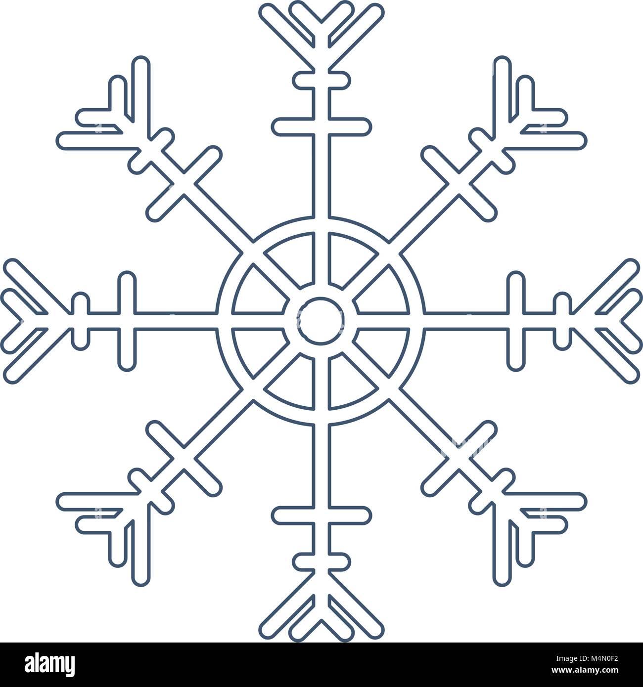 Il simbolo del fiocco di neve silhouette icona isolato Immagini Stock