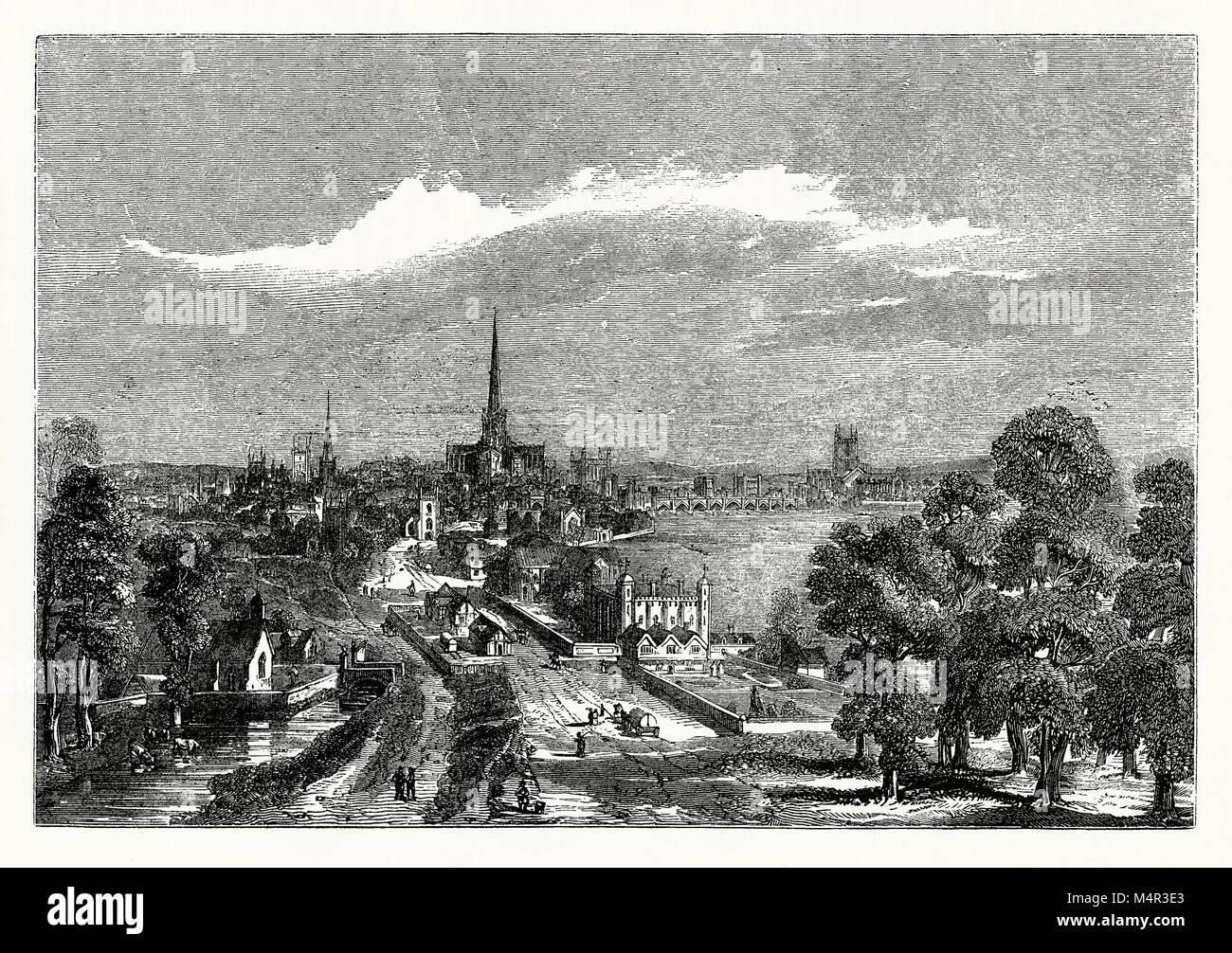 La vecchia Londra guardando ad est dal filamento (o Strande) c. 1600. Sulla sinistra si trova l'ingresso a Covent Foto Stock