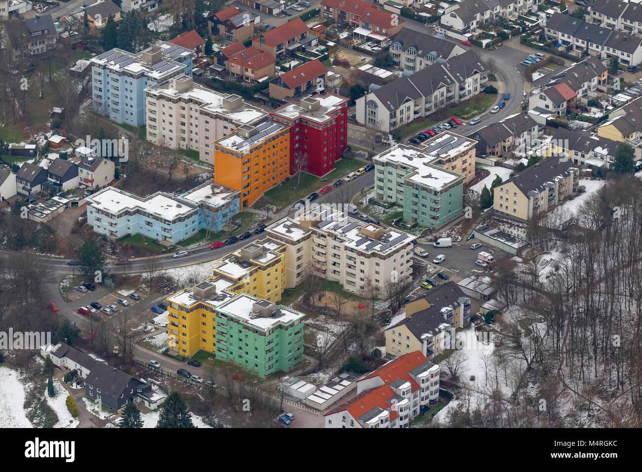 Vista aerea, Tücking e colorati di grattacieli Hoexter road Haspe, Hagen, Sauerland, Renania settentrionale Immagini Stock