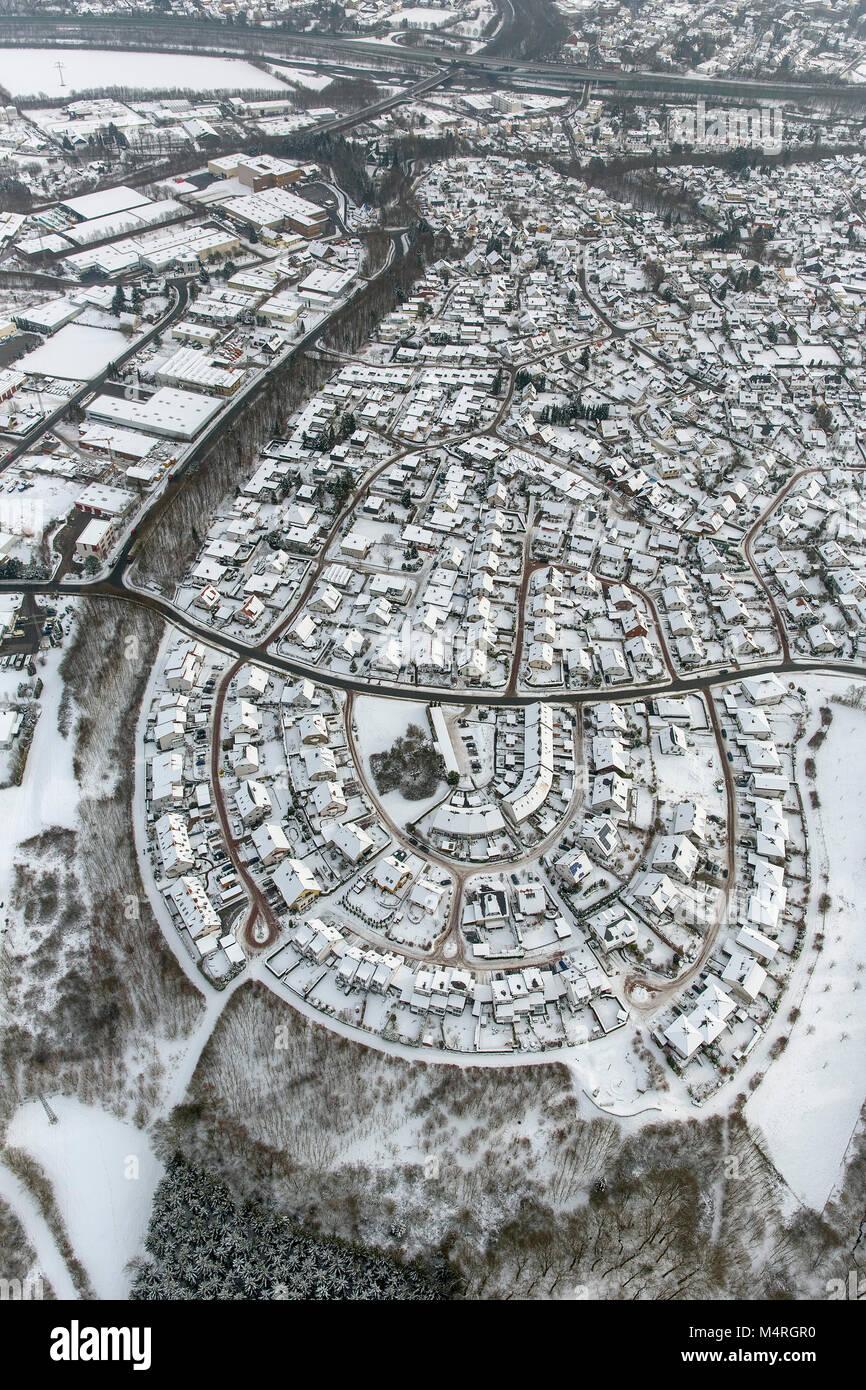 Vista aerea, single-family home settlement Anton-peccato-modo singola famiglia di case a schiera nella neve, Bergheim, Immagini Stock