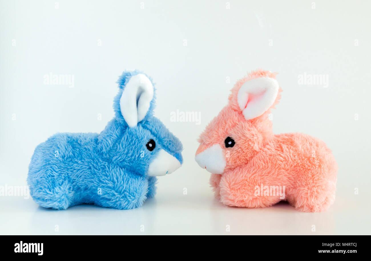 Rosa E Blu Toy Conigli Pasquali Affacciate Tra Loro Isolate Su Uno