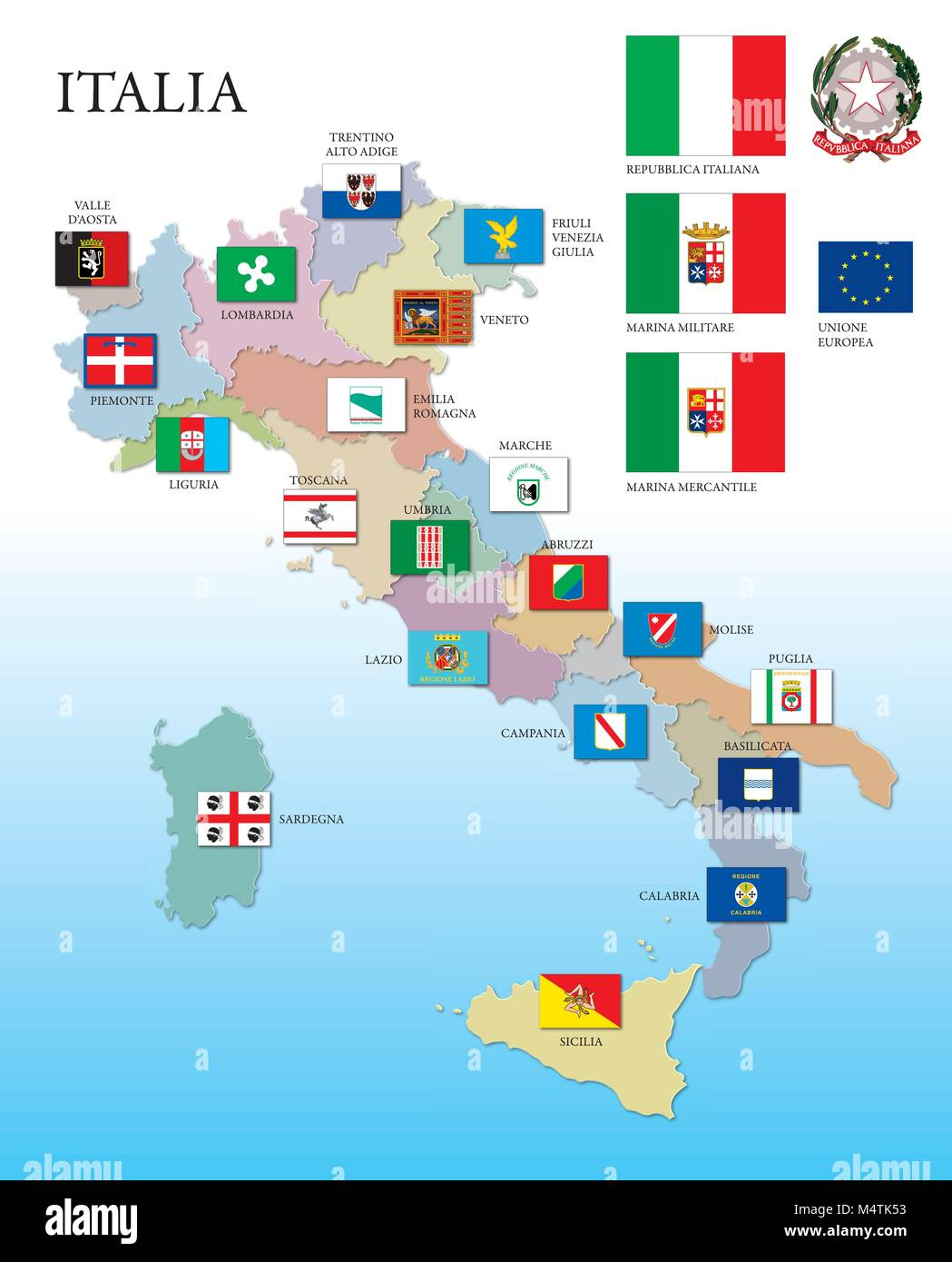 Cartina Geografica Italiana Con Regioni.L Italia Mappa E Regioni Con Le Bandiere Immagine E Vettoriale Alamy