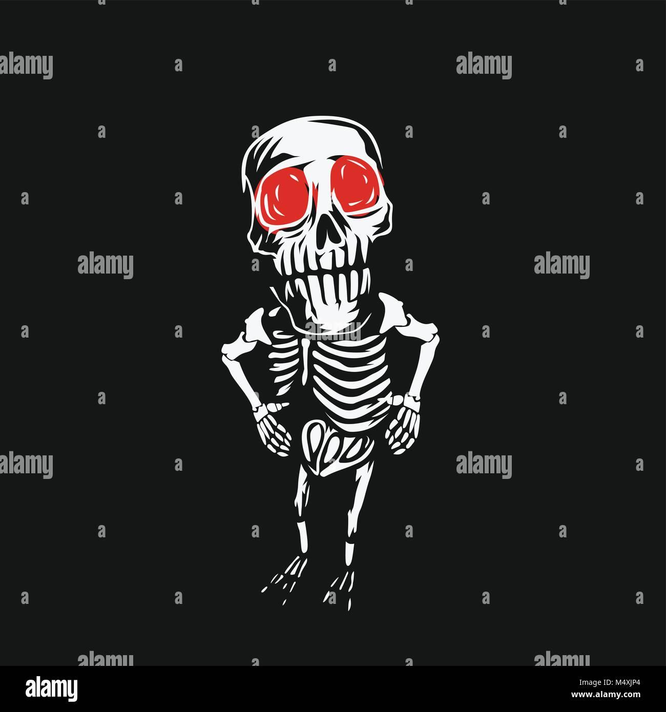 Lo scheletro cranio con occhi rossi su sfondo nero illustrazione