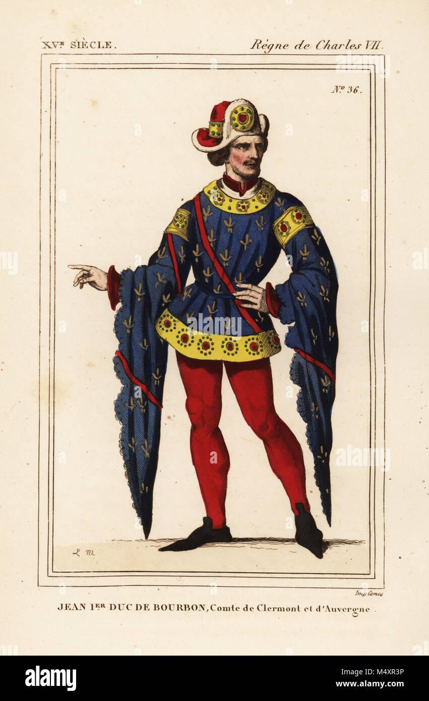 Jean I, Duca di Borbone, Duc de Bourbon, Comte de Clermont et d'Auvergne, 1381-1434. Litografia Handcolored Immagini Stock