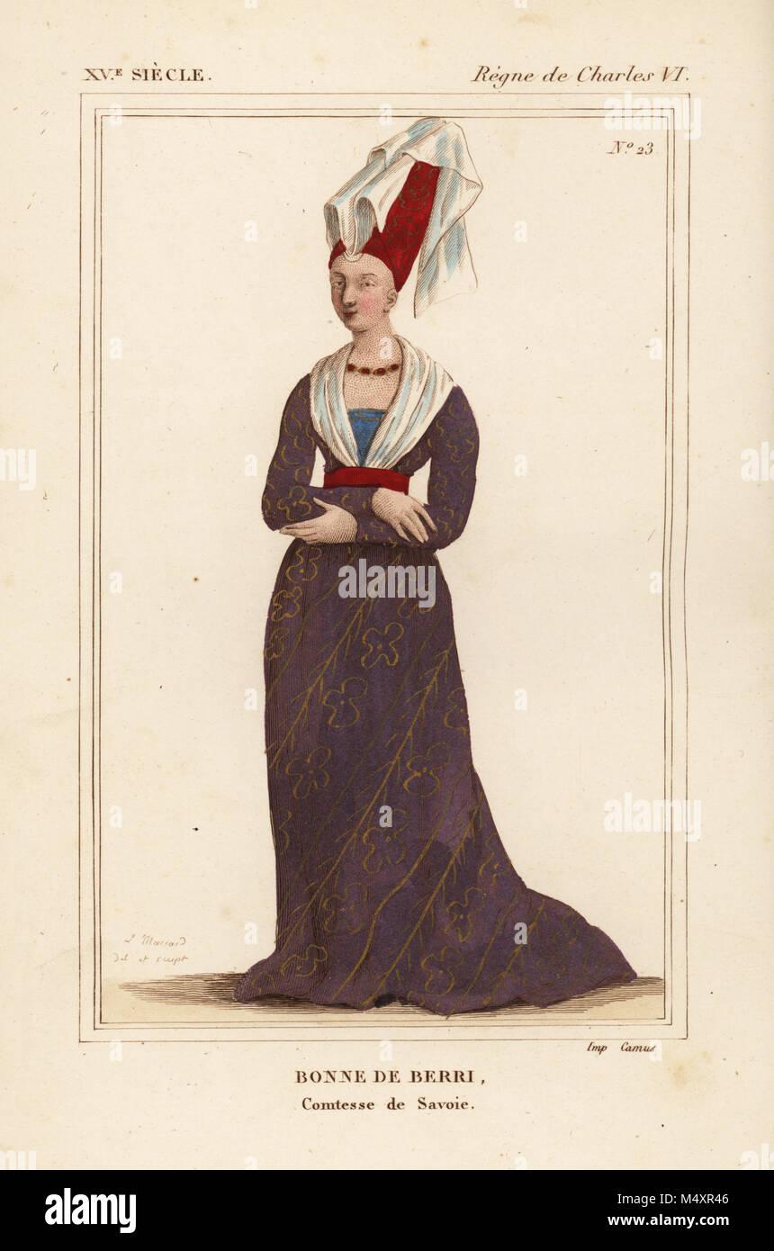 Bonne di Berry, contessa di Savoia, Bonne de Berry, comtesse de Savoie, figlia di Jean de France, d. 1434. Litografia Immagini Stock