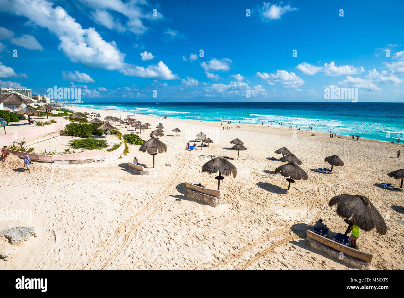 Spiaggia di Cancun panorama, Messico Foto Stock