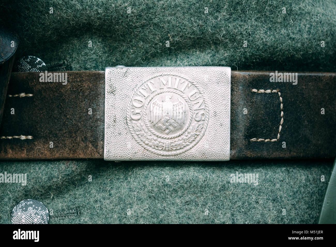 """Fibbia cintura nazista durante la Seconda Guerra Mondiale con il """"Gott Mit Uns """"(Dio con noi) iscrizione. Immagini Stock"""