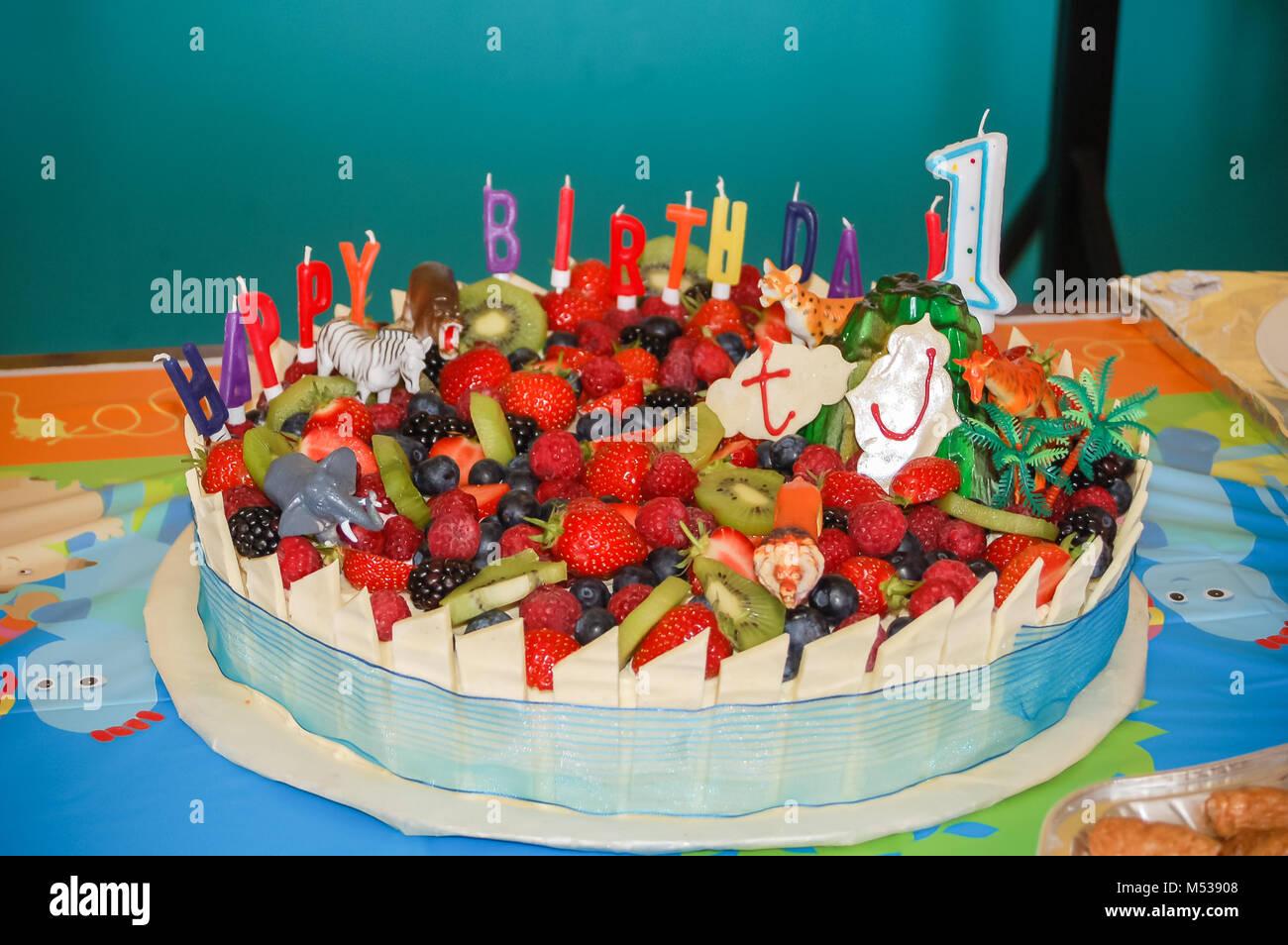 Una prima torta di compleanno decorata con frutta estiva, toy animali e  candeline di compleanno.