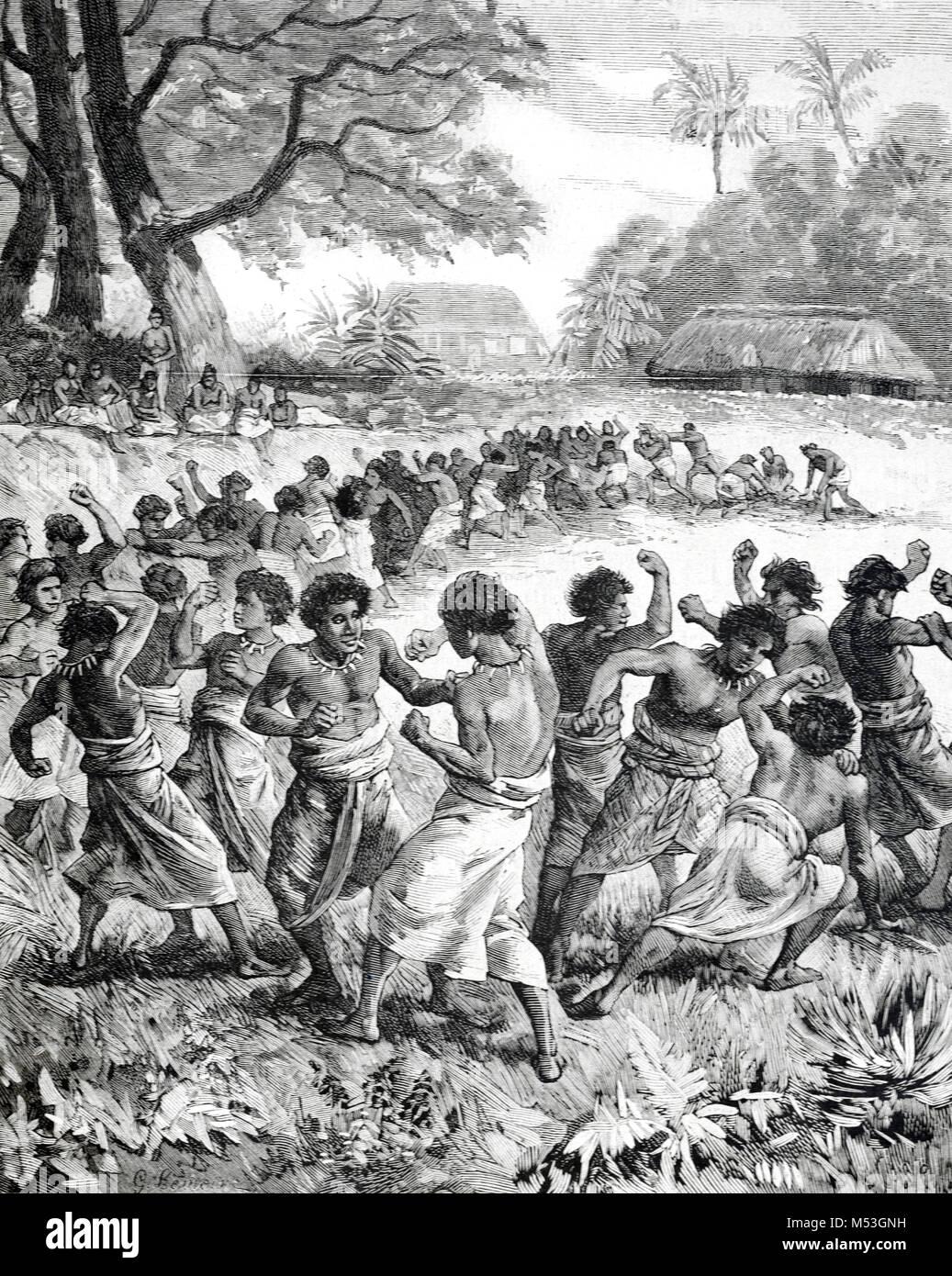 Gli uomini di Tongan boxe in Tonga, o il Regno di Tonga, Polinesia (incisione, 1988) Immagini Stock