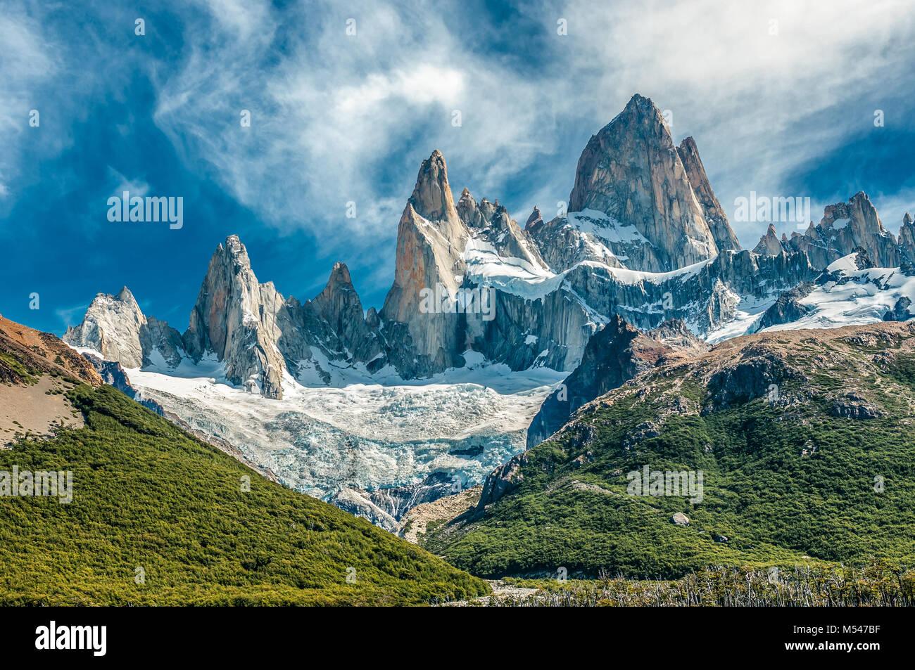 Fitz Roy montagna, El Chalten, Patagonia, Argentina Foto Stock