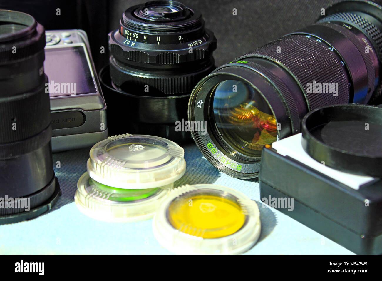 Obiettivo fotografico photofilters e altri accessori foto Immagini Stock