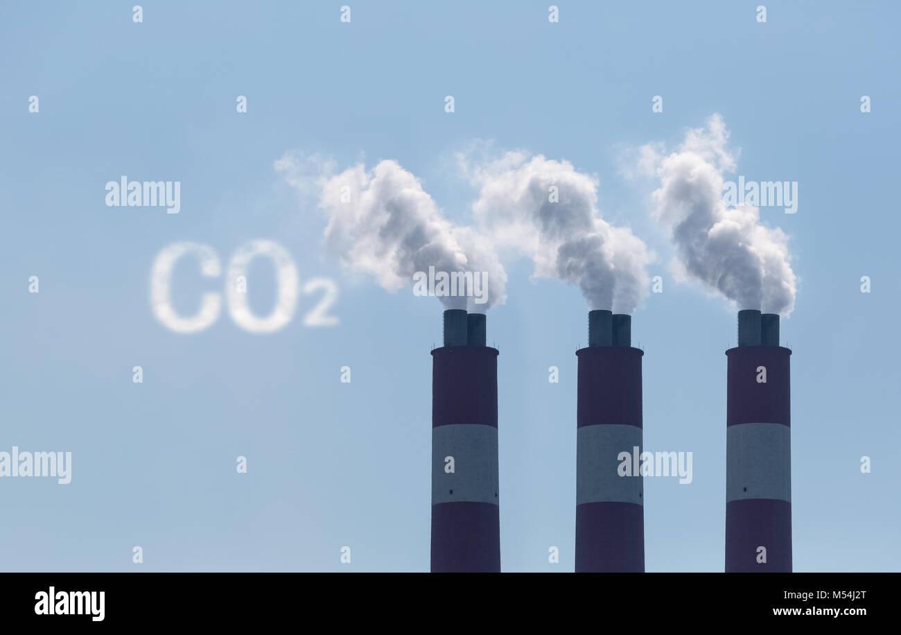 Emissioni di biossido di carbonio Immagini Stock