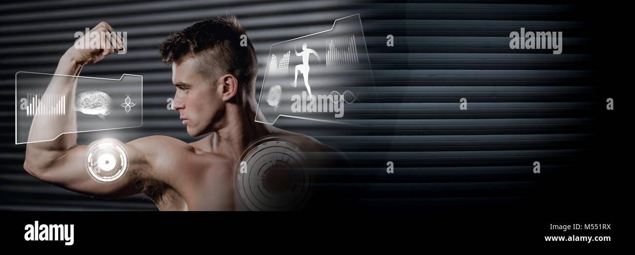 Montare atletico uomo flettendo i muscoli in palestra con interfaccia di salute Immagini Stock