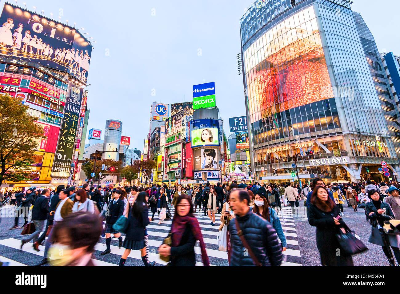 Incrocio di Shibuya Tokyo Giappone Hachiko Square Immagini Stock