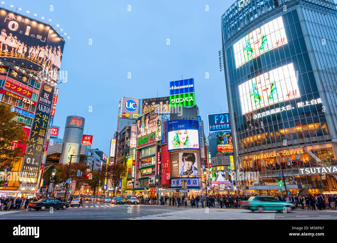 Shibuya di Tokyo attraversando il Giappone Hachiko Square Immagini Stock