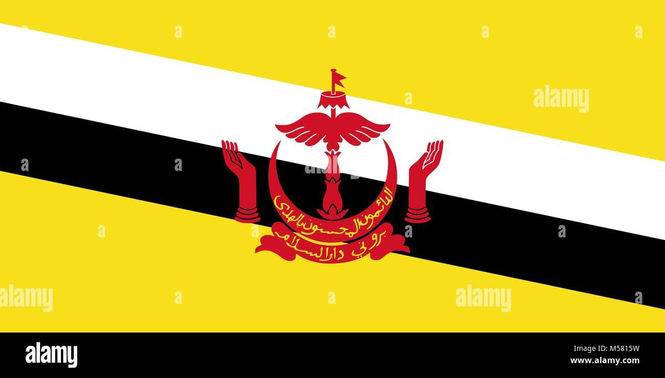Gazzetta grande piatto bandiera del Brunei orizzontale Immagini Stock
