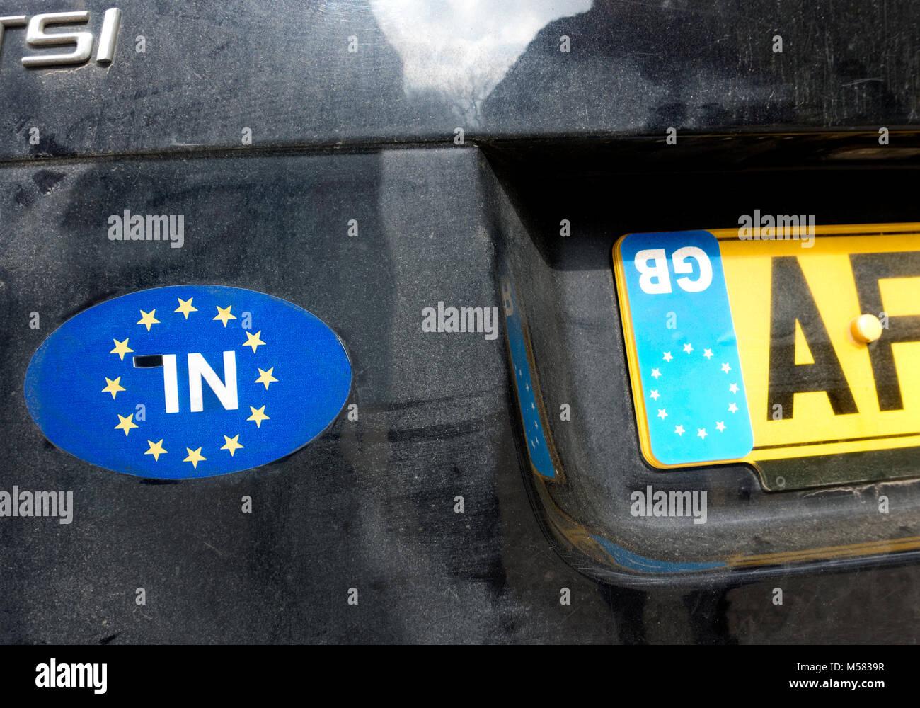 Anti Brexit Bremain protestare su una vettura del Regno Unito a Malaga Spagna. Immagini Stock