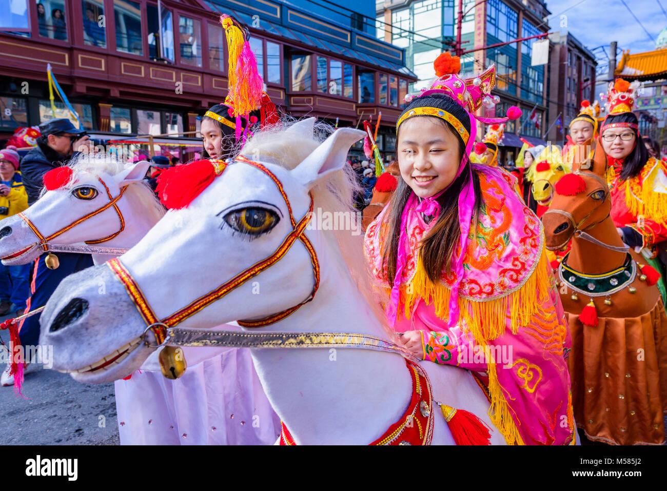 Nuovo anno lunare cinese Parade, Chinatown, Vancouver, British Columbia, Canada. Immagini Stock