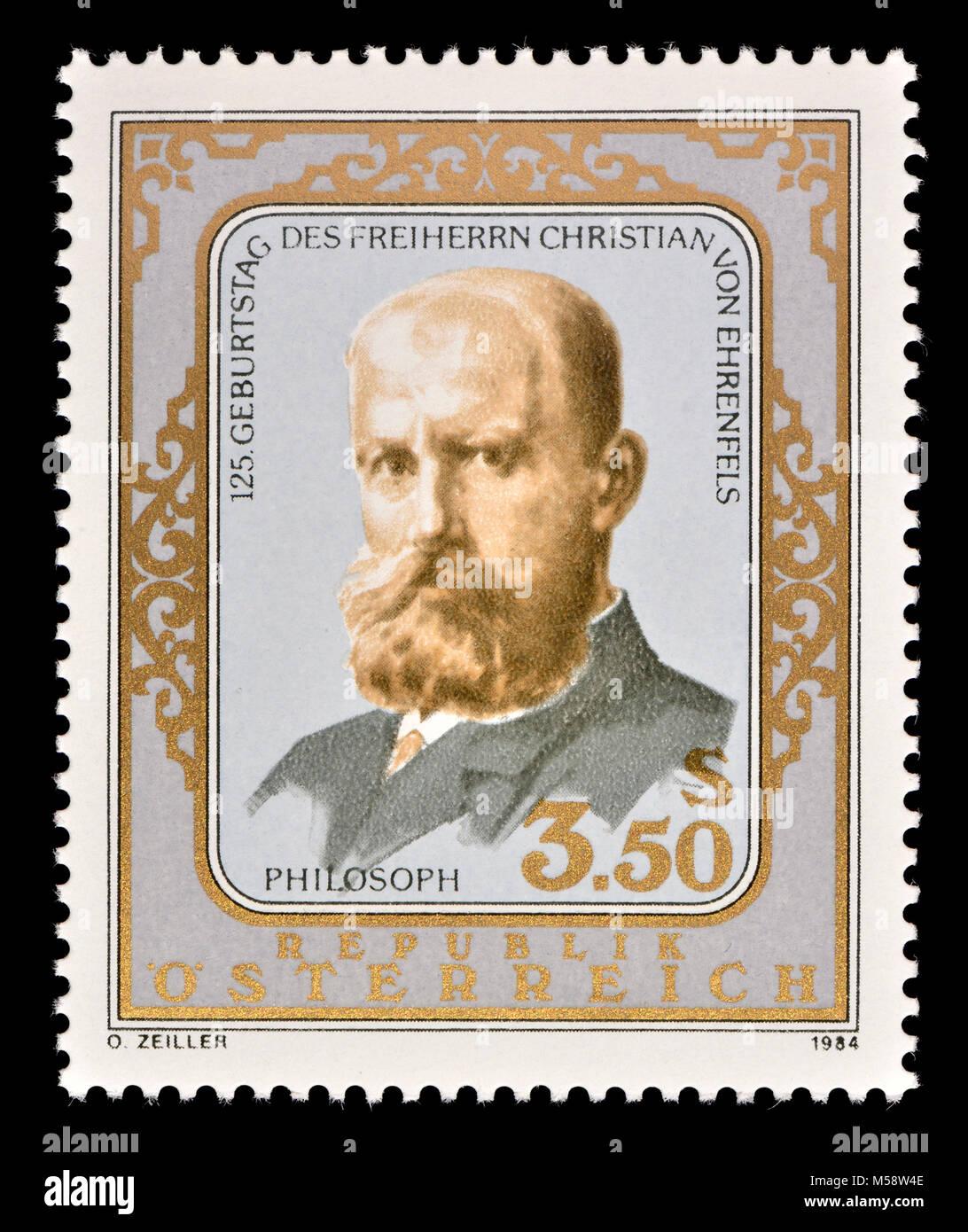 Austrian francobollo (1984) : Christian von Ehrenfels (Maria Christian Julius Leopold Freiherr von Ehrenfels; 1859 Immagini Stock