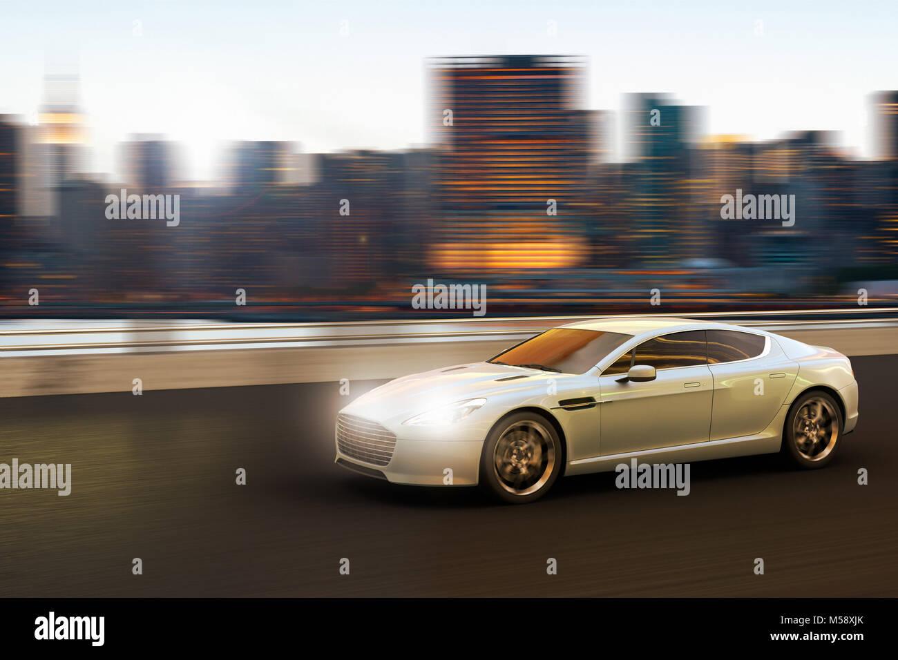 3D rendering di una vettura di lusso in movimento nella parte anteriore dello skyline di Manhattan, New York New Immagini Stock