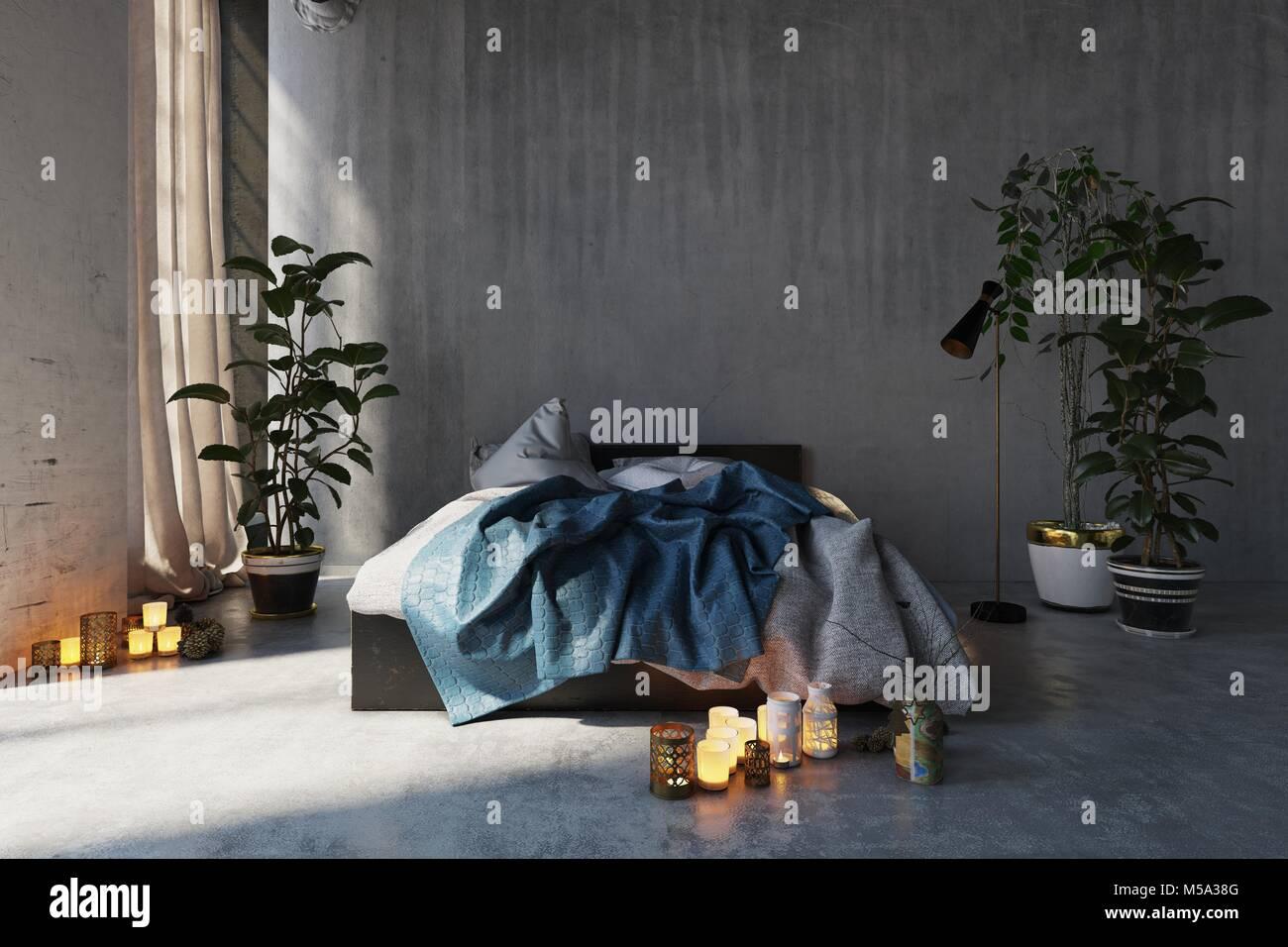 Camera Da Letto Romantica Con Candele : Romantico disordine interiore camera da letto con un letto disfatto