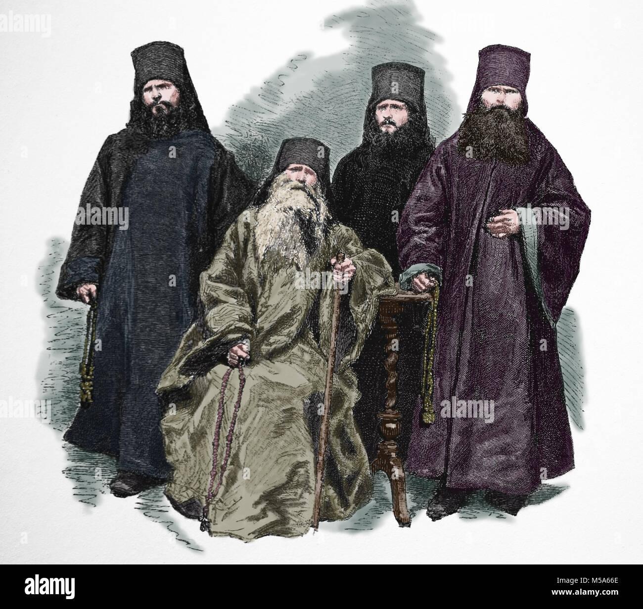 Chiesa ortodossa orientale. Chiesa russo-ortodossa chierici e monaci. 1870. Incisione. Immagini Stock