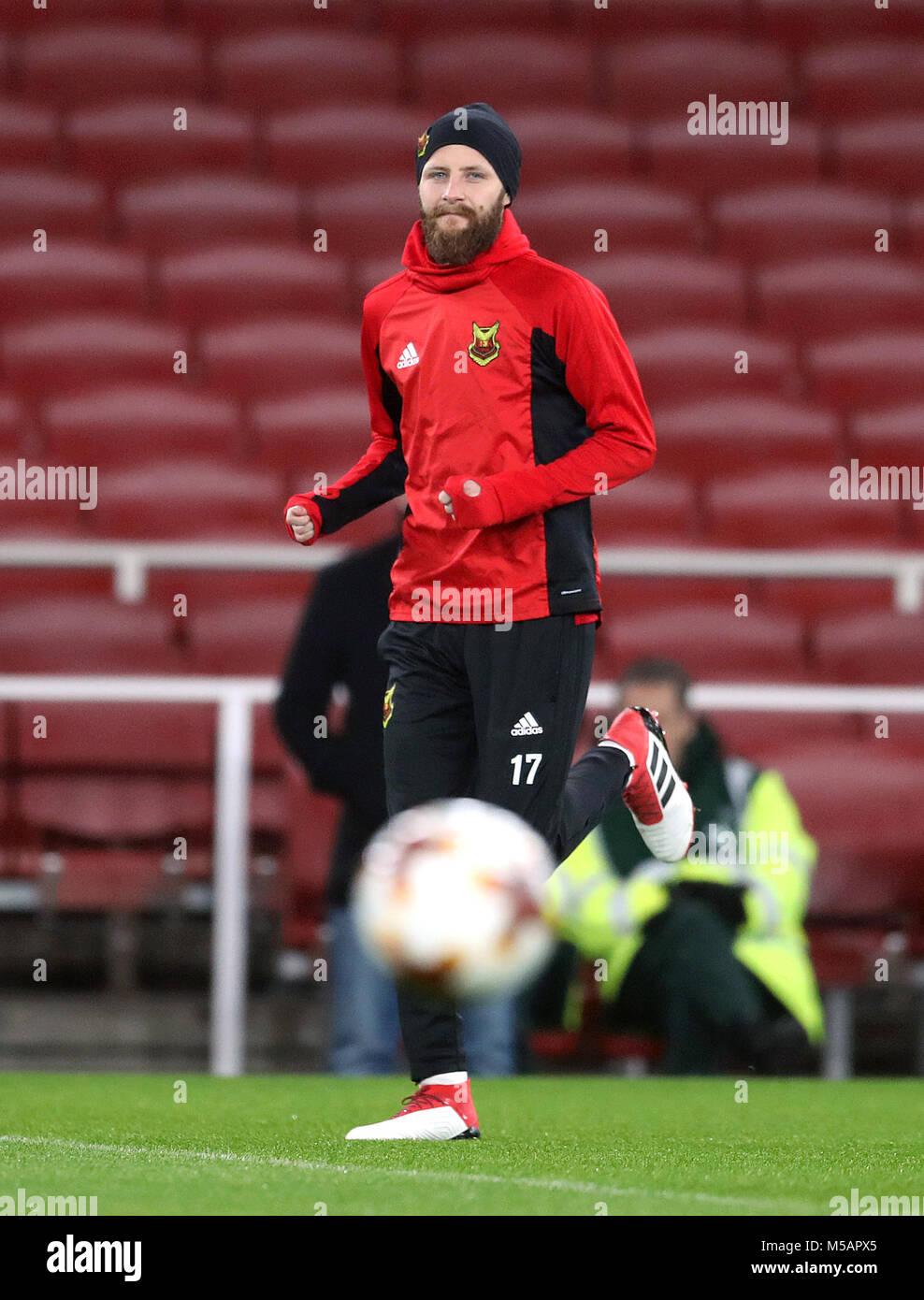Ostersunds FK è Curtis Edwards durante la sessione di formazione presso l'Emirates Stadium, Londra. Foto Stock
