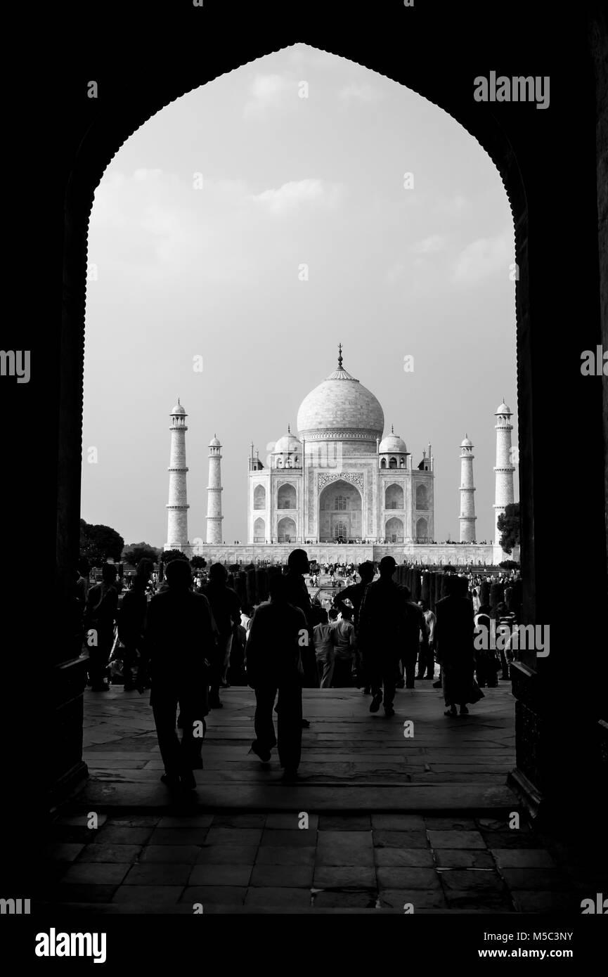 Cancello di ingresso al Taj Mahal, Agra, Uttar Pradesh, India Immagini Stock