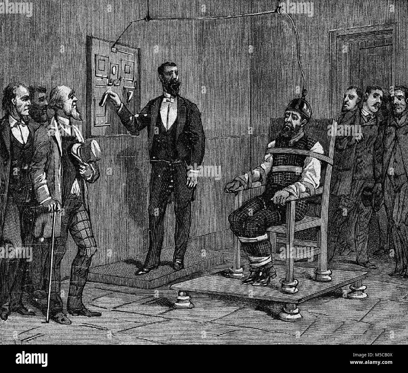 Un esecuzione da parte di elettricità in New York, circa 1890 Immagini Stock
