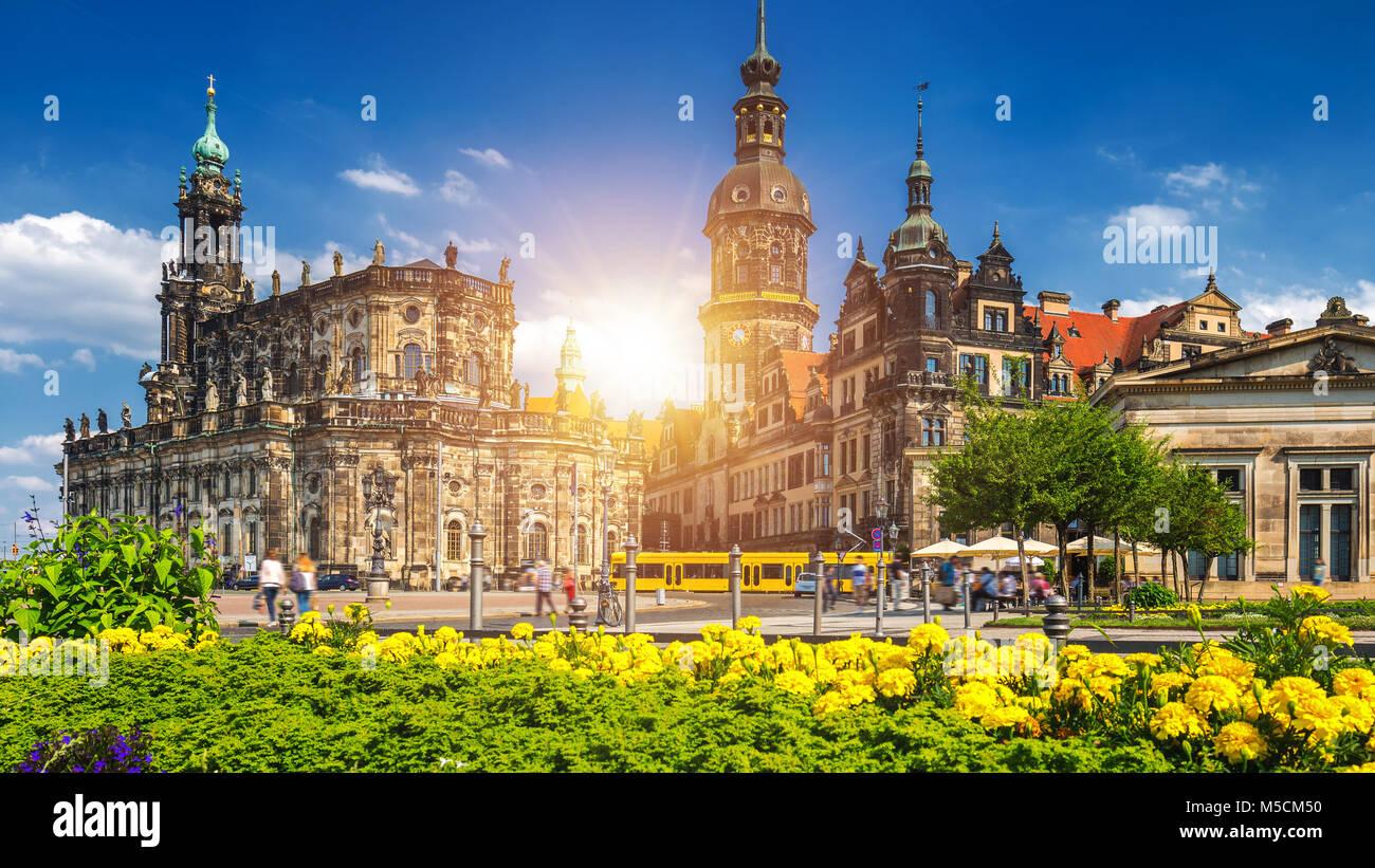 La città antica di Dresda, Germania. Centro storico e culturale dell'Europa. Immagini Stock
